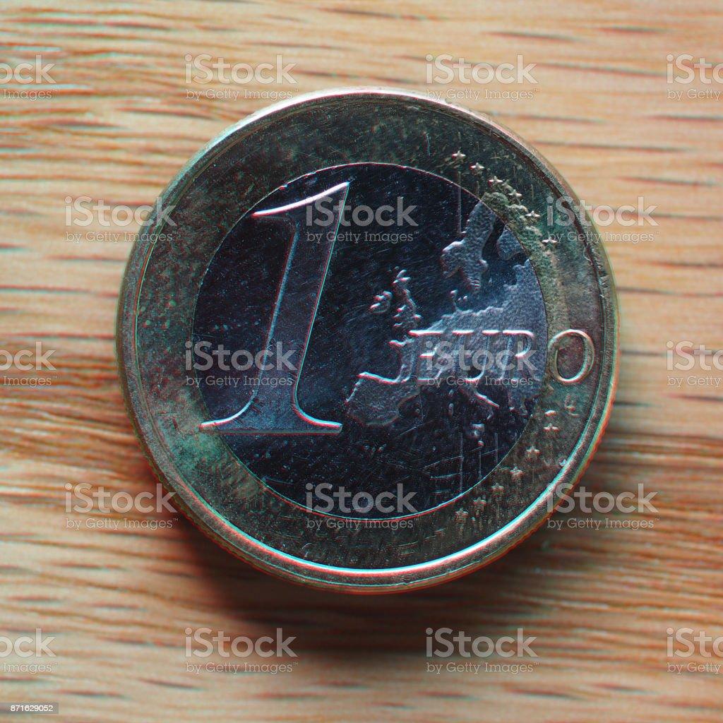 anaglyph 3D image of 1 euro coin, European Union stock photo