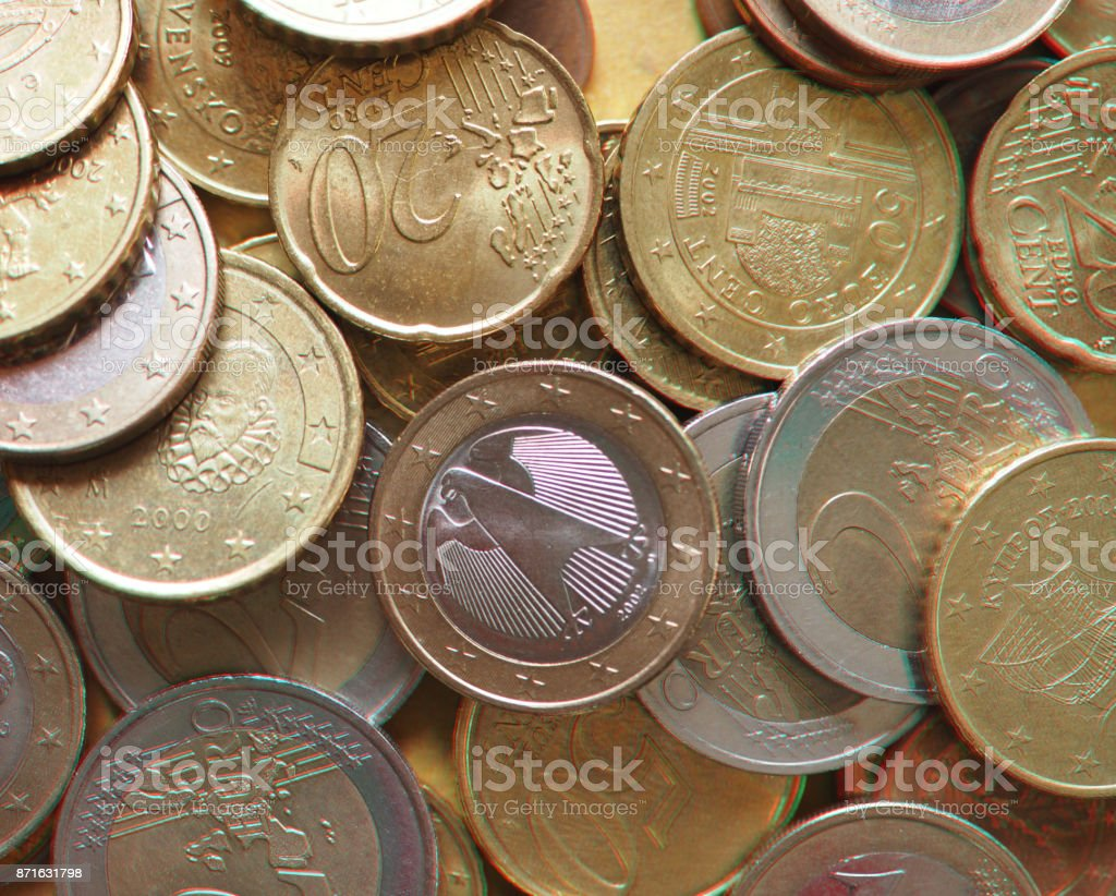 anaglyph 3D image of Euro coins, European Union stock photo