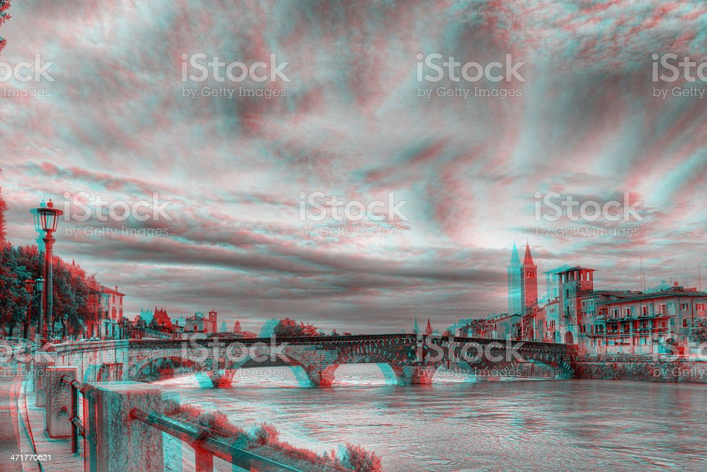 3D anaglyph image of 'Ponte Pietra', in Verona, Italy. stock photo