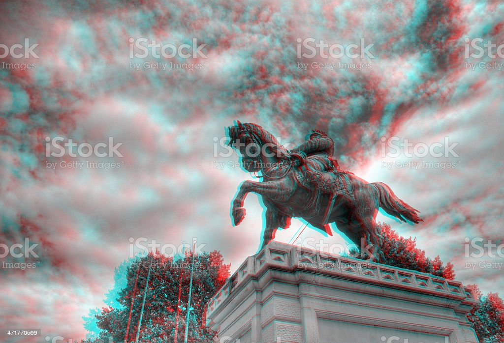 3D anaglyph image of statue in Piazza Bra, Verona, Italy. stock photo