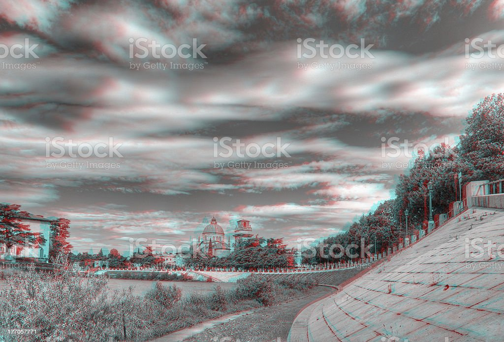 3D anaglyph image of the 'Adige' river, in Verona, Italy. stock photo