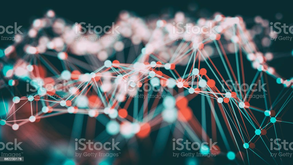 Anaglyph stereoscopic wireframe of light 3d illustration stock photo