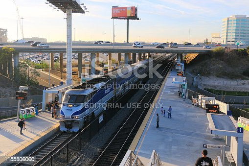 Anaheim, CA, USA - Dec.29.2017: EMD F59PHI powered Amtrak Pacific Surfliner train stopped at Anaheim Regional Transportation Intermodal Center.