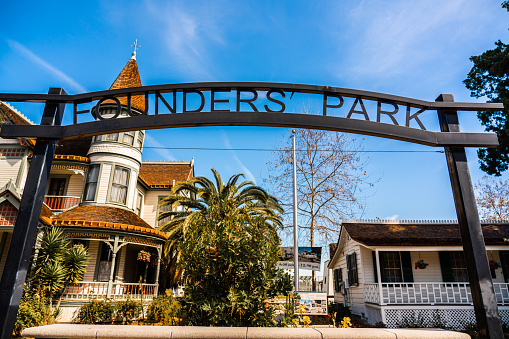 View of Anaheim Founders' Park on a sunny day.