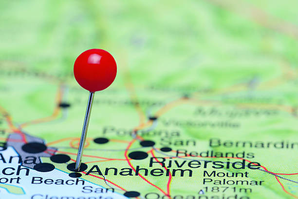 Anaheim pinned on a map of USA stock photo