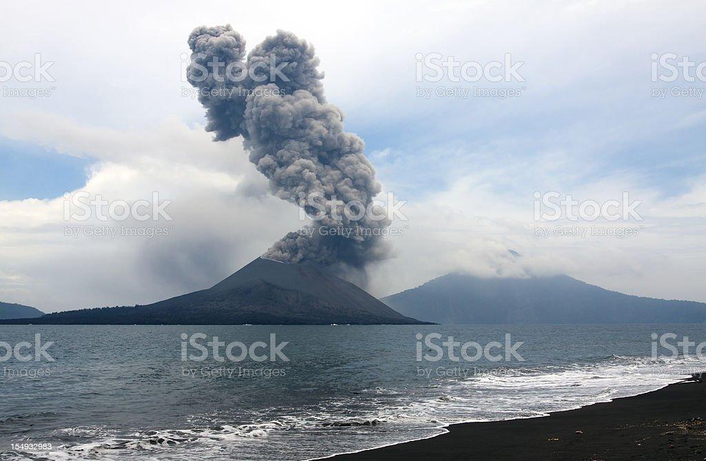 Anak Krakatau eruption, seen from nearby island. royalty-free stock photo