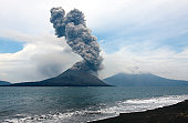 Anak Krakatau eruption, seen from nearby island.