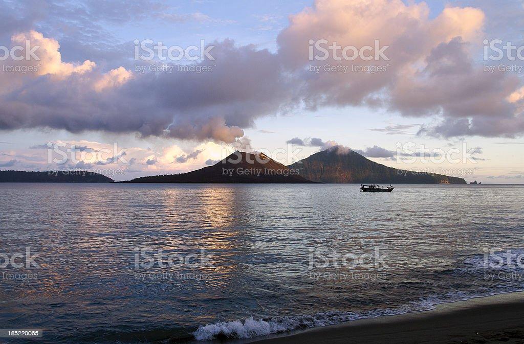 Anak Krakatau Volcano seen from beach stock photo