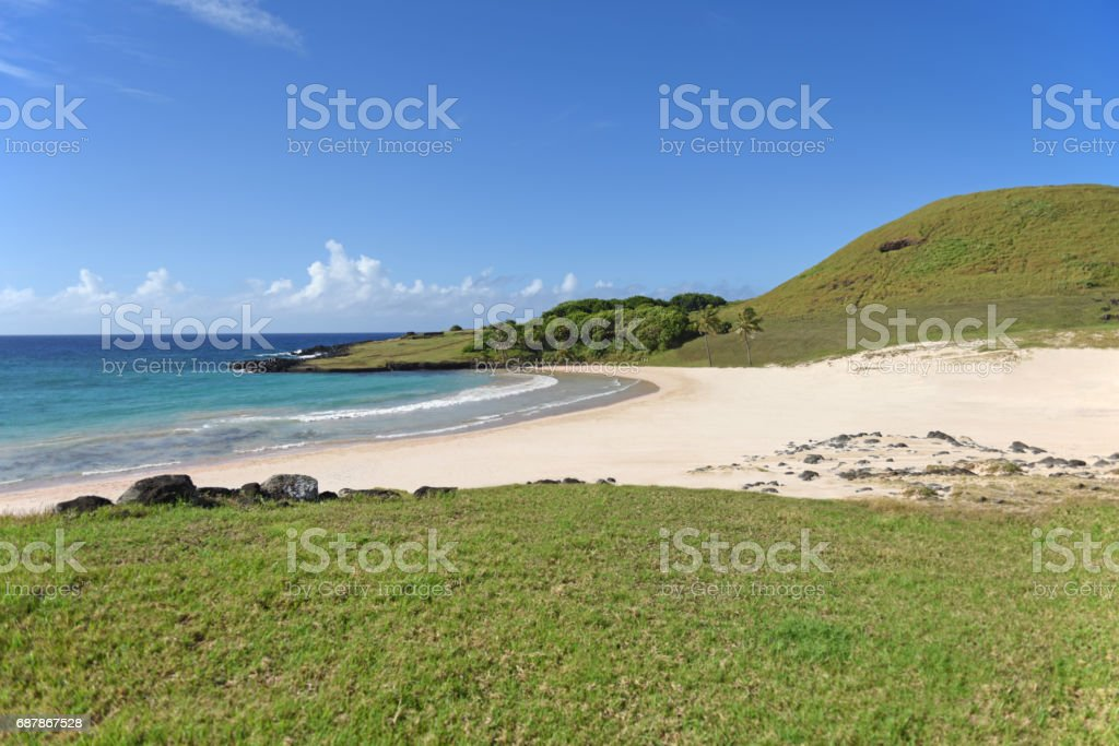 Anakena Beach, Easter Island stock photo