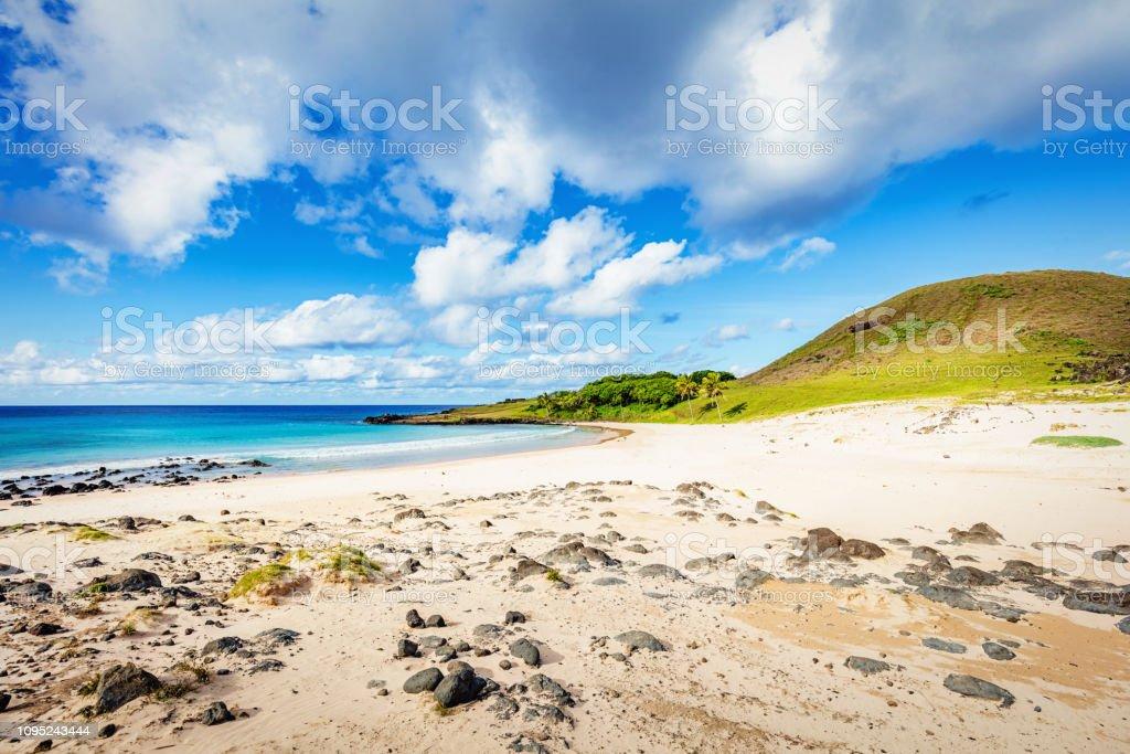 Anakena Beach Rapa Nui Easter Island stock photo