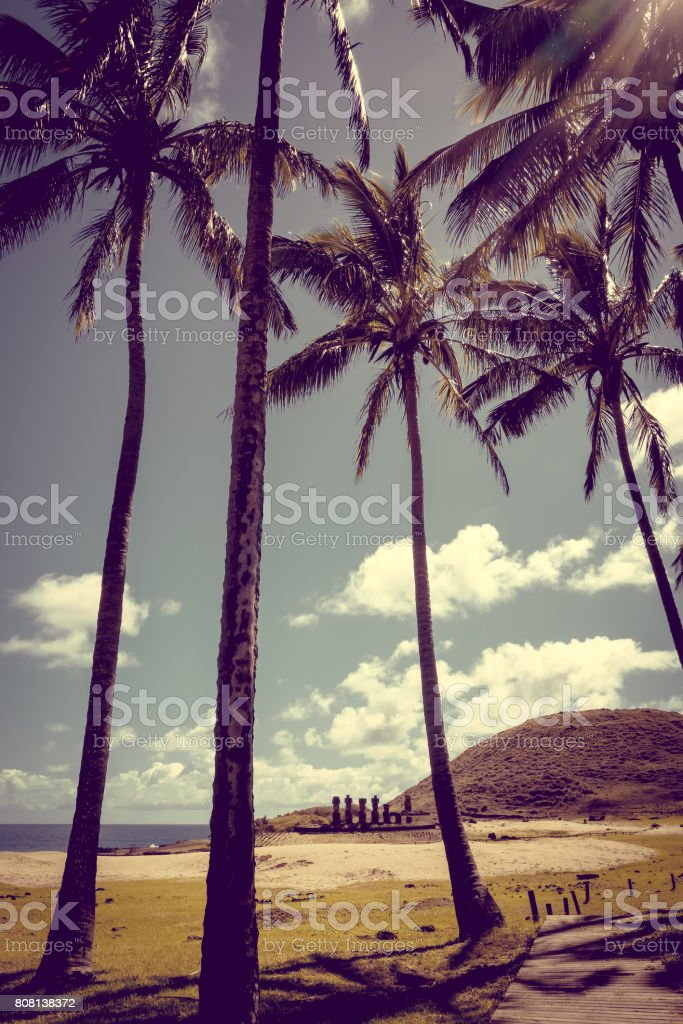 Anakena palm beach and Moais statues site ahu Nao Nao, easter island stock photo