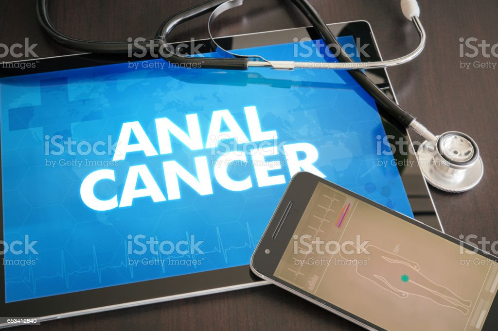 Anal cancer (cancer type) diagnosis medical concept on tablet screen with stethoscope - foto stock