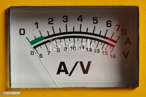 analog ammeter and voltmeter. close up. measuring equipment.