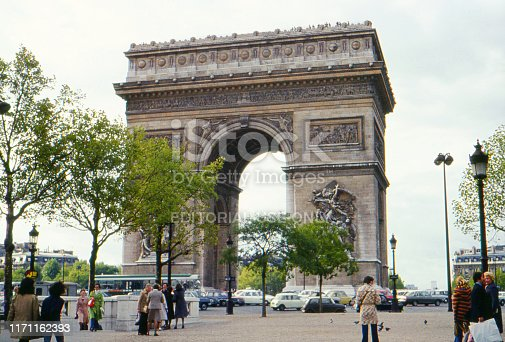 PARIS / FRANCE - MAY 1975: Analog atmospheric vintage image of the Place Charles de Gaulle with the famous Arc de Triomph.