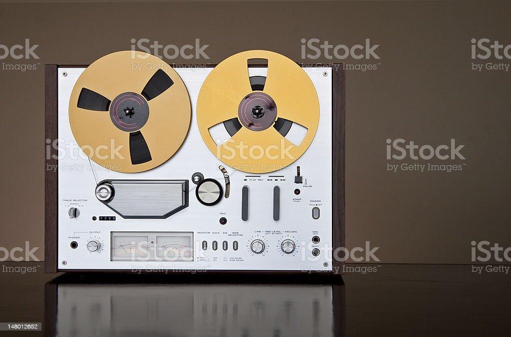 Analog Audio Stereo Reel Tape Recorder stock photo