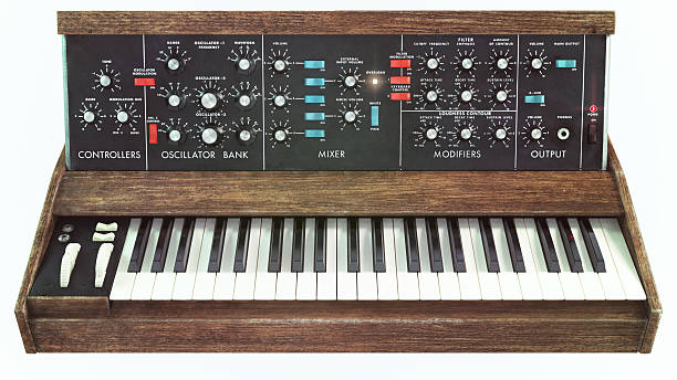 Analog classic synthesizer front view Analog classic synthesizer front view synthesizer stock pictures, royalty-free photos & images
