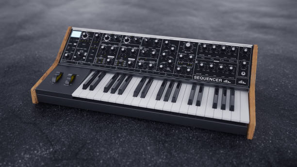 Analog classic synthesizer on asphalt. 3D render illustration. Analog classic synthesizer on asphalt. 3D render illustration. synthesizer stock pictures, royalty-free photos & images