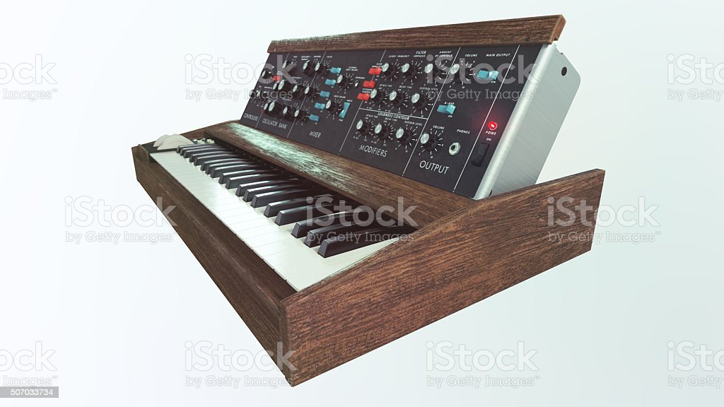 Analog classic synthesizer side view stock photo
