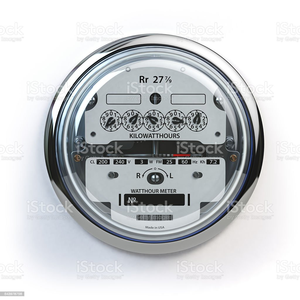 Analog electric meter isolated on white.  Electricity consumptio stock photo