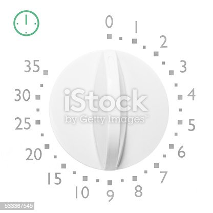 Analog microwave oven 35 minute timer, isolated analogue vintage white dial face macro closeup grey numbers and green icon detail, large detailed
