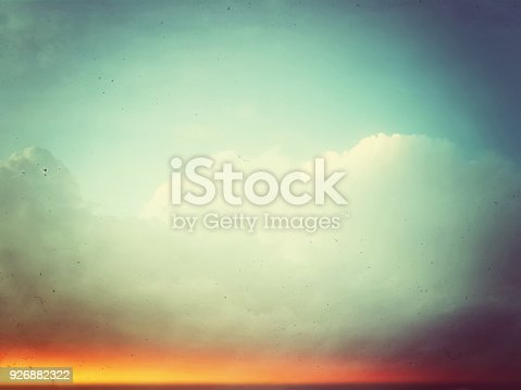 istock Analog retro photo of sky and clouds 926882322