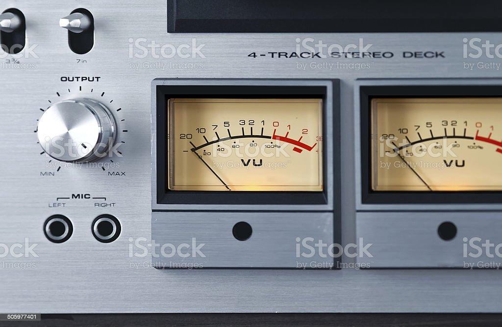Analog Stereo Open Reel Deck Recorder VU Meter stock photo
