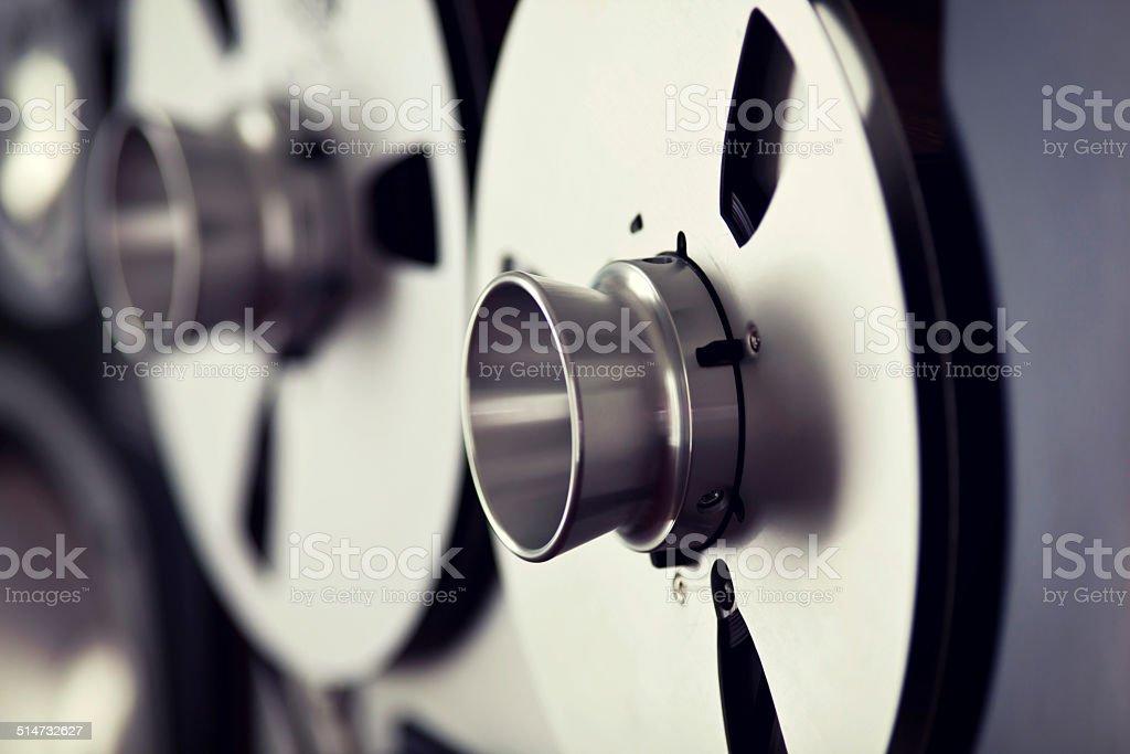 Analog Stereo Open Reel Tape Deck Recorder Spool stock photo