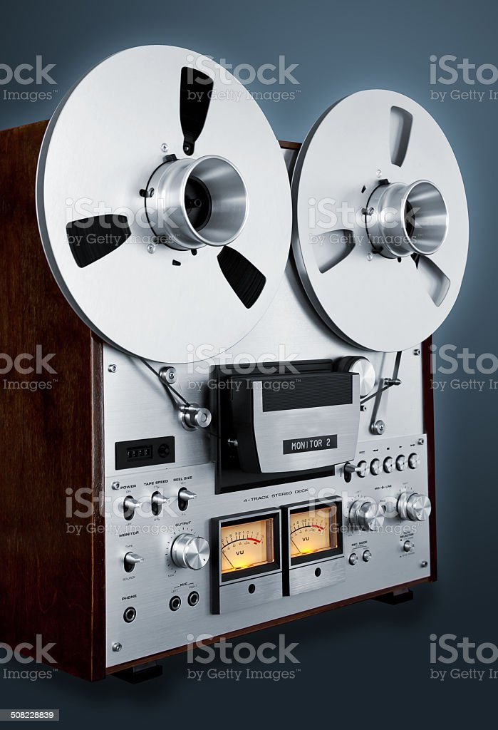 10c317955d78 Analog Stereo Open Reel Tape Deck Recorder Vintage royalty-free stock photo