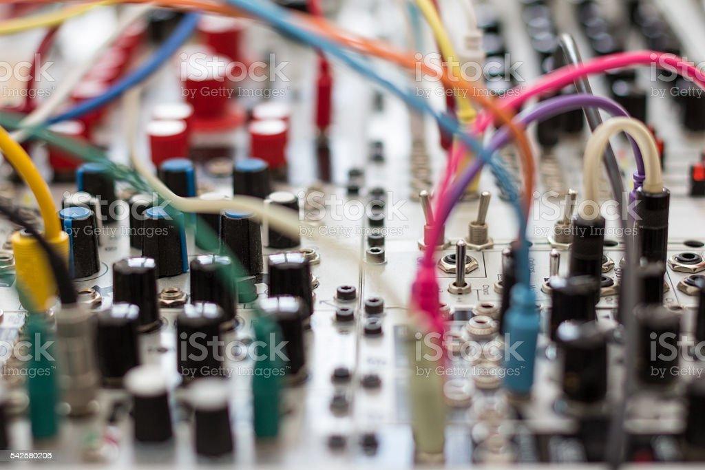 analog synthesizer - modular synth stock photo