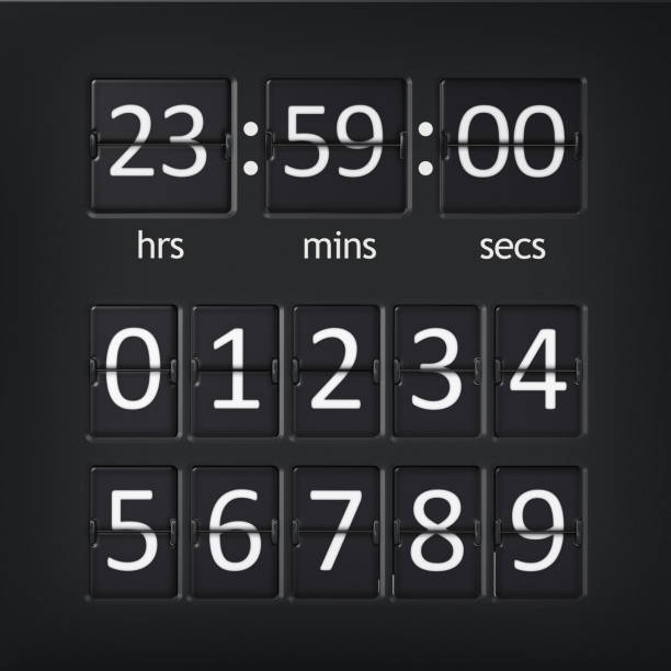 analogue airport countdown timer with numbers set - countdown stock photos and pictures