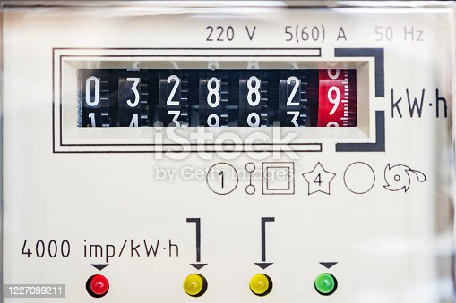 693910734 istock photo Analogue electricity meter. 1227099211