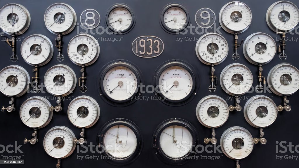 Analogue Gauge Wall. Industrial Water Steam Measurement. stock photo