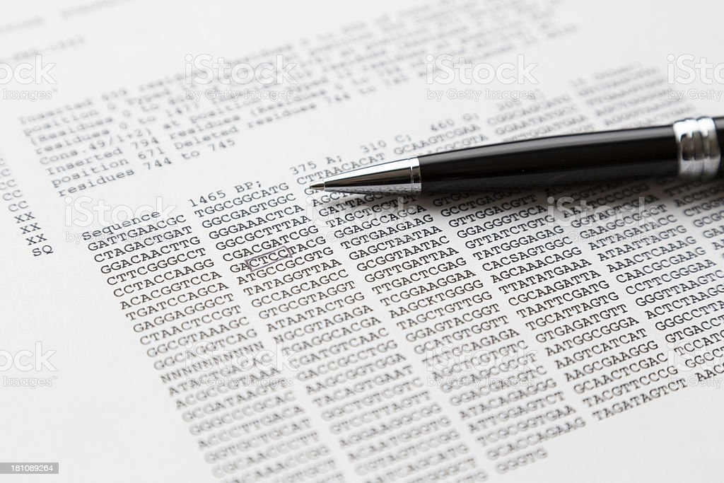 Analyse DNA sequence stock photo