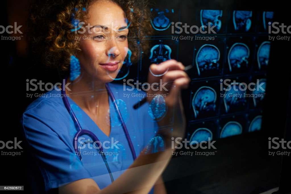 analysing brain scans stock photo