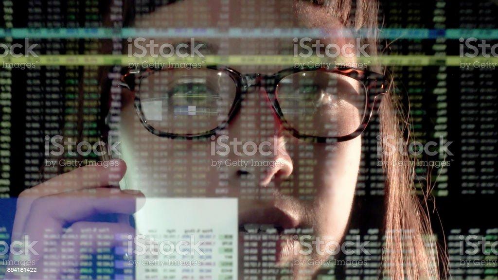 Analysing figures phone royalty-free stock photo