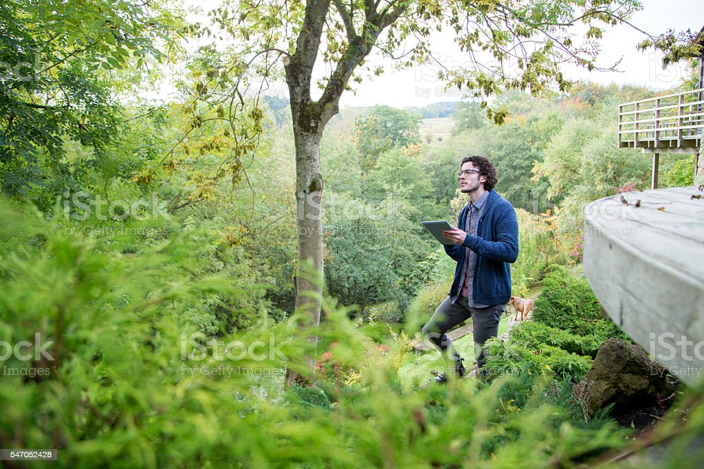 Analysing nature with digital tablet stock photo