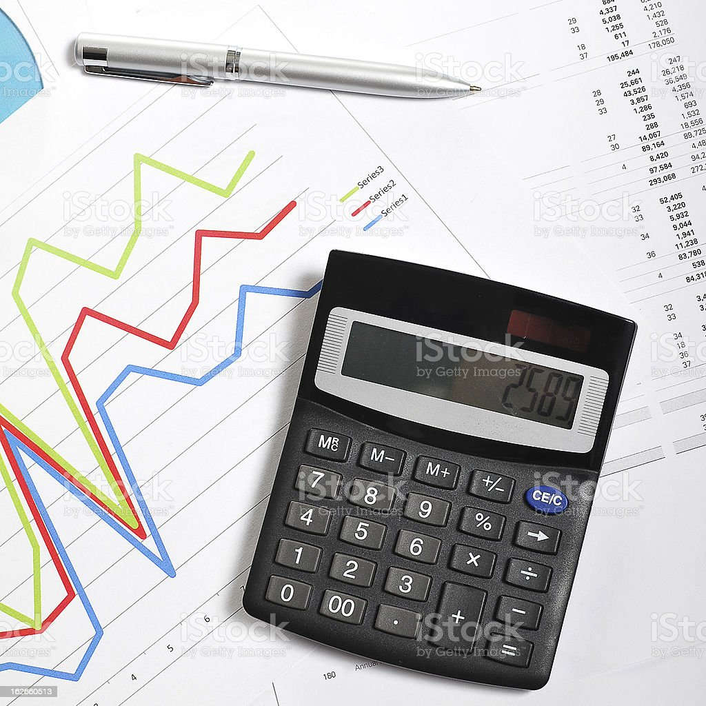 Analysis, charts, calculation and financial figures in finance concept royalty-free stock photo