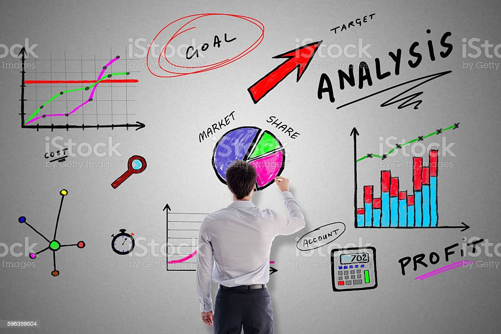 Analysis concept drawn by a businessman royalty-free stock photo