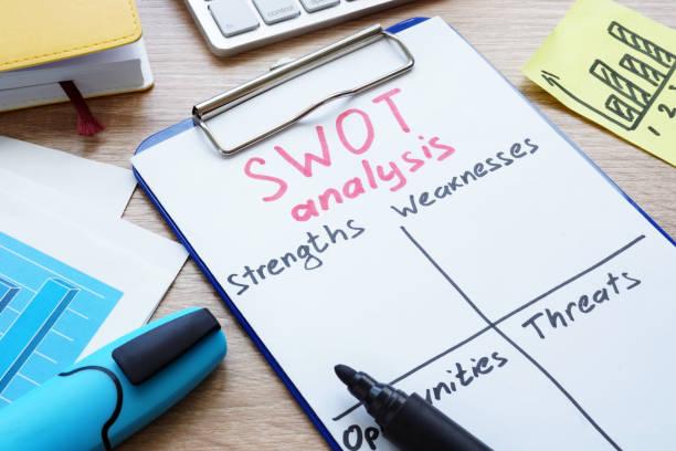 swot 分析フォームと机の上のクリップボード。 - オタク ストックフォトと画像