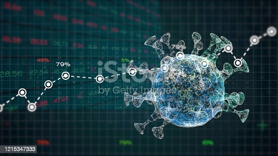 istock Analysis graphs and reports numbers about a pandemic virus crisis. 1215347333