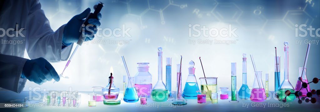 Analysis Laboratory With Pipette And Beaker stock photo