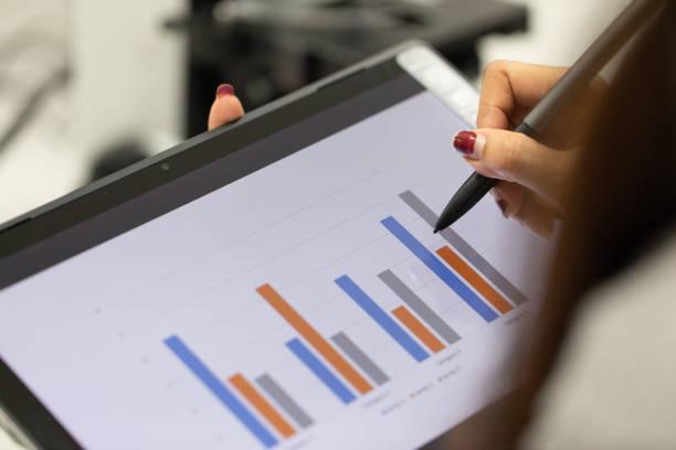 analysis of experimental results in laboratory. - campione scientifico foto e immagini stock