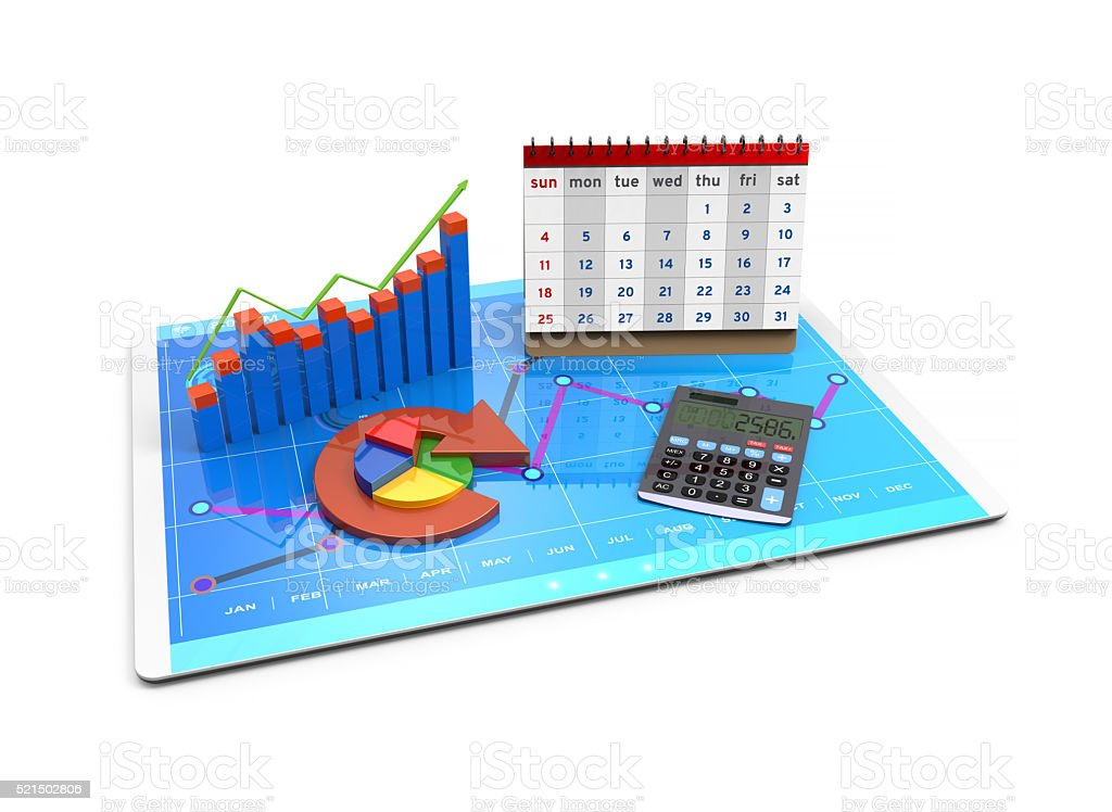 Analysis of financial data in charts stock photo