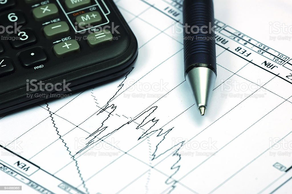 Analysis with stock charts stock photo