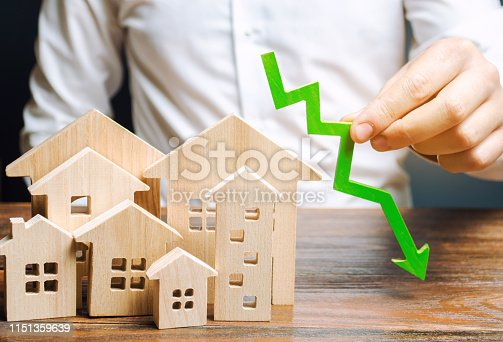 istock Analyst holds down arrow near the wooden houses. Concept of falling real estate market. Low prices and cost of housing. Reduced mortgage rates and housing demand. Bankruptcy. Crisis and low liquidity 1151359639