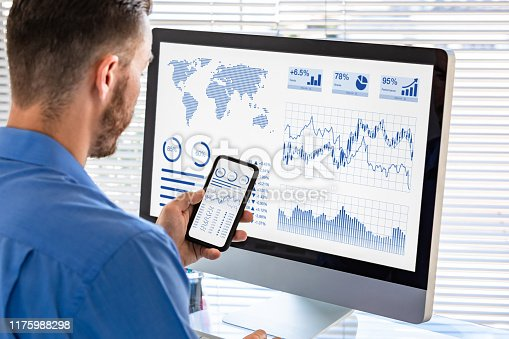 1068812018istockphoto Analyst working on business analytics dashboard for financial investment on stock market exchange, analyzing metrics and KPI (Key Performance Indicators) and computer screen, in office 1175988298