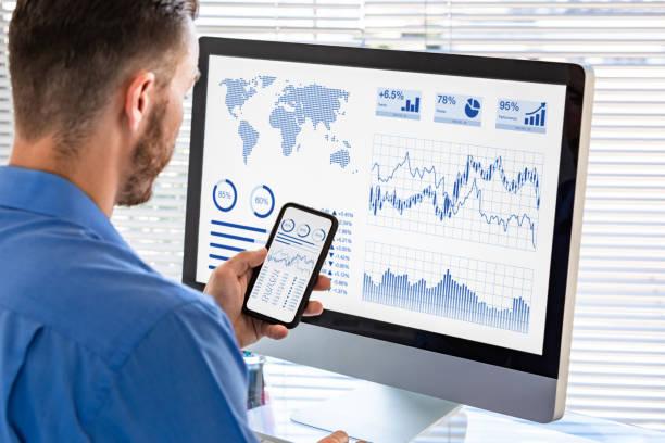 Analyst am Business Analytics Dashboard für Finanzinvestitionen an der Börse, Analyse von Metriken und KPI (Key Performance Indicators) und Computerbildschirm, im Büro – Foto