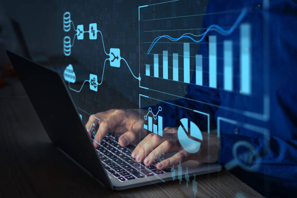Analyst working with Business Analytics and Data Management System on computer to make report with KPI and metrics connected to database. Corporate strategy for finance, operations, sales, marketing stock photo