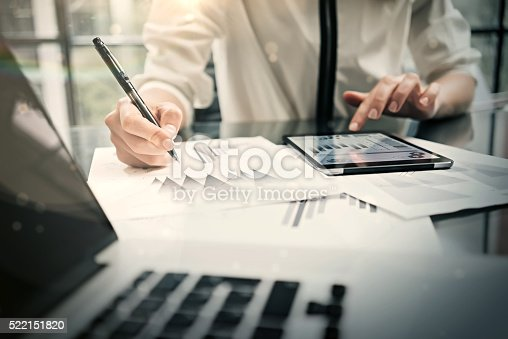 istock Analytical department working process.Closeup photo business woman showing reports 522151820