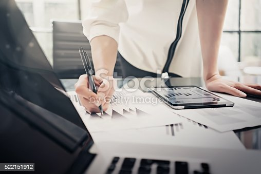 istock Analytical department working process.Closeup photo business woman showing reports 522151912